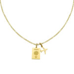 France Passport Travel Necklace Gold