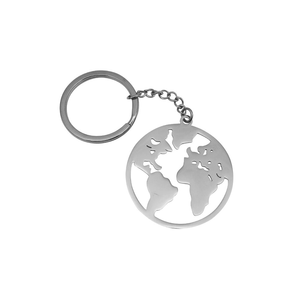 World Map Keychain Silver